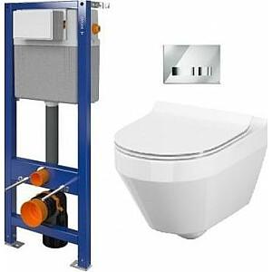 Cersanit slēptais komplekts, tualetes Crea CleanOn ar sēdekli un atkritumu rāmi Aqua 22 ar hromētu Movi pogu (S701-451)