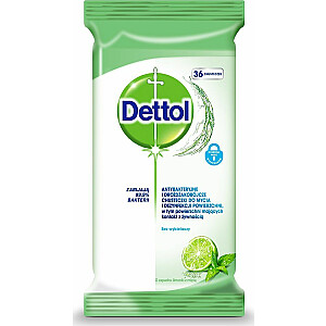 Dettol DETTOL_Antibakteriālās un rauga salvetes kaļķu tīrīšanai un dezinfekcijai & amp; Mint 36gab