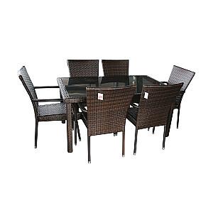 Dārza komplekts, galds ar 6 krēsliem