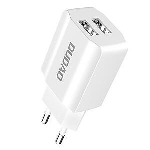 Dudao Universāls 5V / 2.4A Tīkla Lādētājs 2x USB Balts