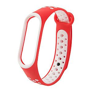 Fusion dots siksniņa pulkstenim Xiaomi Mi Band 3 / Mi Band 4 sarkans - balts