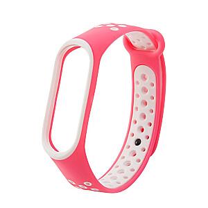 Fusion dots siksniņa pulkstenim Xiaomi Mi Band 3 / Mi Band 4 rozā - balts