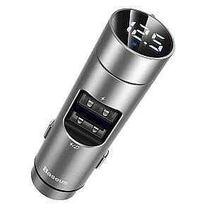Baseus CCNLZ-0S automašīnas fm raidītājs 3.1A / usb flash / sd / bluetooth 5.0 sudraba