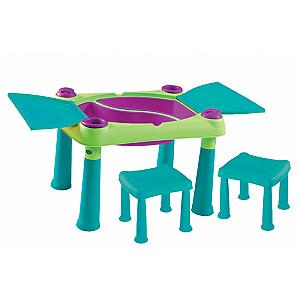 Bērnu rotaļu galdiņš Creative Play Table ar 2 krēsliņiem zaļš/tirkīza