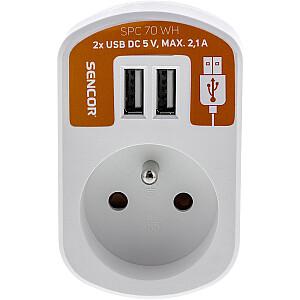 SENCOR Kontaktligzda ar 2x USB