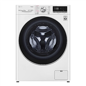LG Washing Machine With Dryer F4DV709S1E Energy efficiency class A, Front loading, Washing capacity 9 kg, 1400 RPM, Depth 56.5 cm, Width 60 cm, Display, LED, Drying system, Drying capacity 6 kg, Steam function, Direct drive, NFC, Wi-Fi, White