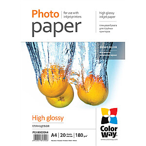 ColorWay Photo Paper 20 pcs. PG180020A4 Glossy, White, A4, 180 g/m²