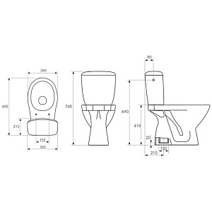 WCkompaktpods Kaskada 207 3/6  ar PP vāku, vertikāls