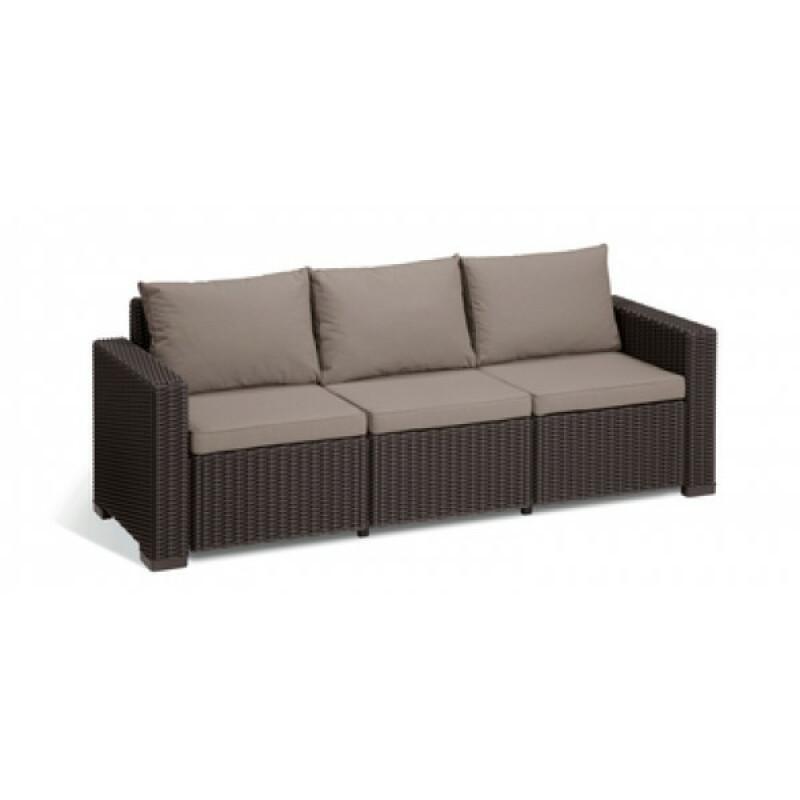 Dārza dīvāns trīsvietīgs California 3 Seater Sofa brūns