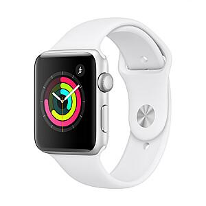 Apple Aluminium Case with Sport Band Series 3 42mm, Smart watch, GPS (satellite), Retina OLED, Touchscreen, Heart rate monitor, Waterproof, Bluetooth, Wi-Fi, eSIM, Silver, White