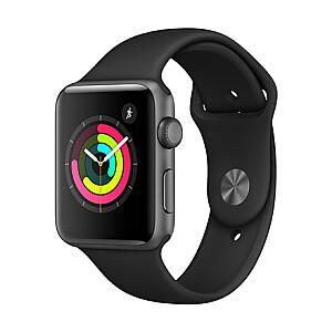 Apple Aluminium Case with Sport Band Series 3 42mm, Smart watch, GPS (satellite), Retina OLED, Touchscreen, Heart rate monitor, Waterproof, Bluetooth, Wi-Fi, eSIM, Space Grey, Black