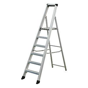 Kāpnes alumīnija profesionāla 12 pak. platf.augst 2.53/max4.5m Elkop