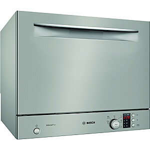 Bosch Dishwasher SKS62E38EU Free standing, Width 55 cm, Number of place settings 6, Number of programs 6, Energy efficiency class F, Display, AquaStop function, Silver Inox