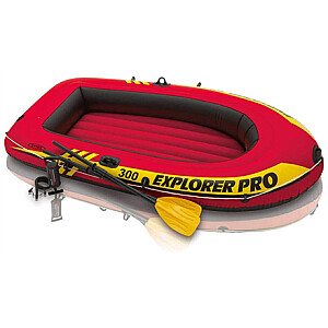 Intex Explorer Pro 300 Set Inflatable Boat With Oars and Pump Red/Yellow