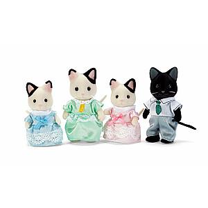 Tuxedo melnbalto kaķu ģimene