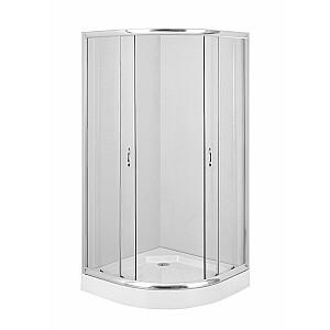 Dušas kabīne Deante Funkia 80cm pusapaļais stikls, hroma profils (KYP 052K)