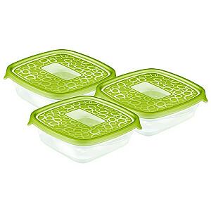 Pārtikas trauciņu komplekts 3gb kvadrāts 0,6L Take Away zaļš
