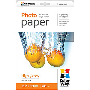ColorWay High Glossy Photo Paper, 100 sheets, 10x15, 200 g/m²