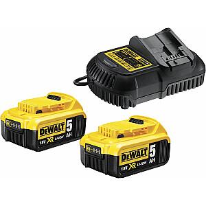 Dewalt komplekts, 2 x 18 V 5 Ah akumulatori + 10,8-18 V XR lādētājs (DCB115P2)