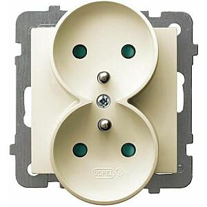 Ospel Double AS kontaktligzda ar iezemējumu un slēģiem ecru (GP-2GRZP / m / 27)