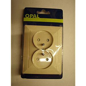 Opal divvirzienu kontaktligzda ar iezemējumu un opāla / perlamutra bēša difuzoru