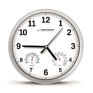 EHC016W Sienas pulkstenis ar termometru un gaisa mitruma mērītāju. 25cm