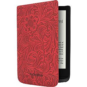 PocketBook vāciņš Shell Premium korpuss ziedu raksts sarkans