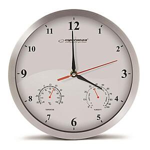 EHC008W Sienas pulkstenis ar termometru un gaisa mitruma mērītāju. 30cm alumīnija korpuss