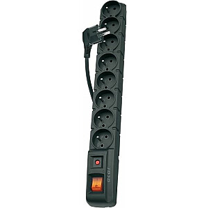 Strāvas sloksne Acar S8 pārsprieguma aizsargs 8 kontaktligzdas 1,5 m melna (ACARS801.5)