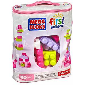 Mega Bloks First Builders - rozā soma 60 elementi