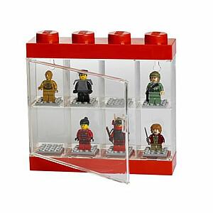 Lego Minifigurг vitrīna 8 figūrām, sarkana