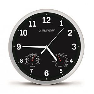 EHC016K Sienas pulkstenis ar termometru un gaisa mitruma mērītāju. 25cm