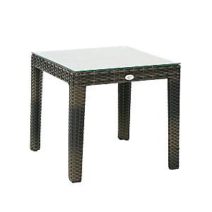 Sānu galds WICKER 50x50xH45cm, tumši brūns