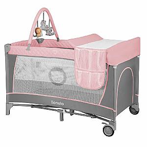 Lionelo Flower 2in1 Flamingo Pārnēsājama bērnu gultiņa