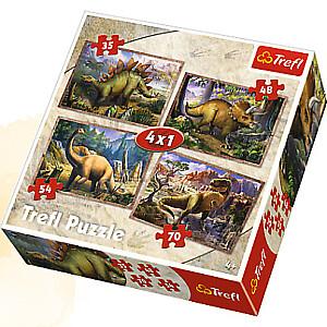 Pužļu komplekts Dinozauri, 4 gb.