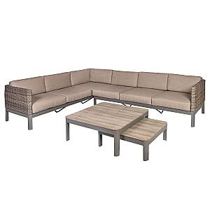 ADMIRAL stūra dīvāna un 2 galdu komplekts