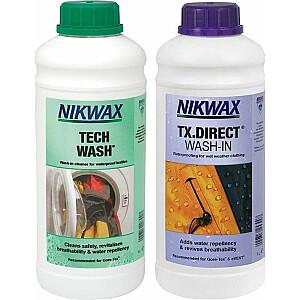 Nikwax Tech Wash / TX kopšanas komplekts. Tiešā mazgāšana 2x1000ml (NI-42)