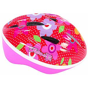 Aizsargķivere bērniem Volare Deluxe - Red Pink Flowers - 51-55 cm