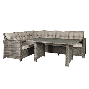 Komplekts PAVIA galds un stūra dīvāns, līgava