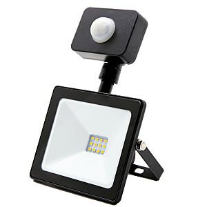 Prožektors LED 10W/IP44/4000k ar sensoru melns