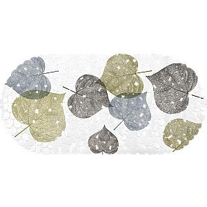 Vannas istabas paklājs pretslīdēšanas, balts ar lapām