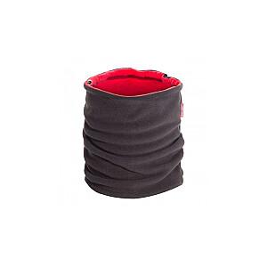 Šalle multifunkc. flīsa melna-sarkana ar šņori