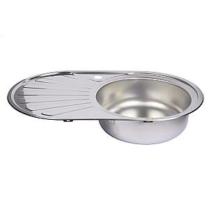 Virtuves izlietne 45x74cm, iegr., labā, ar sifonu