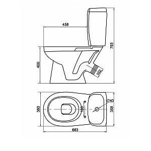 WC kompaktpods Koral 45 ar PP vāku